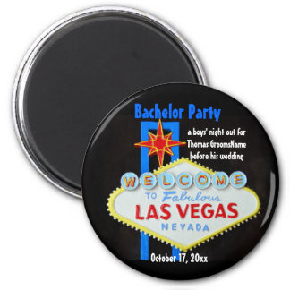 Las Vegas Bachelor Party 2 Inch Round Magnet
