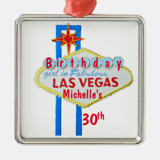Las Vegas Birthday Celebration Pendant Metal Ornament
