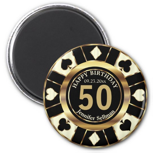 Las Vegas Birthday in a Cream Ivory Magnet