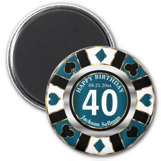 Las Vegas Birthday in a Teal Blue Magnet
