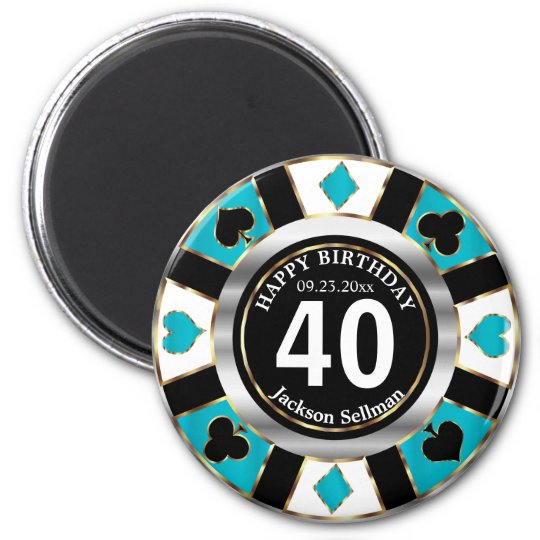 Las Vegas Birthday in a Turquoise Blue Magnet