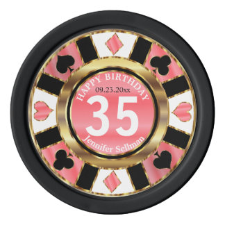 Las Vegas Birthday in Pretty Coral Poker Chips