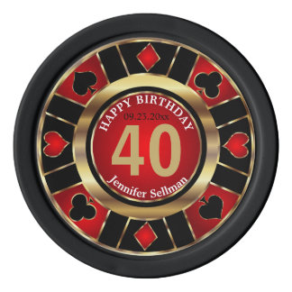 Las Vegas Birthday in Pretty Red Poker Chips