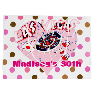 Las Vegas Birthday Party Pink Brown Casino Dots Large Gift Bag