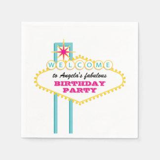 Las Vegas Birthday Party Pink Sign Paper Napkins