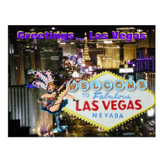 Las Vegas Boulevard and Showgirl art Postcard