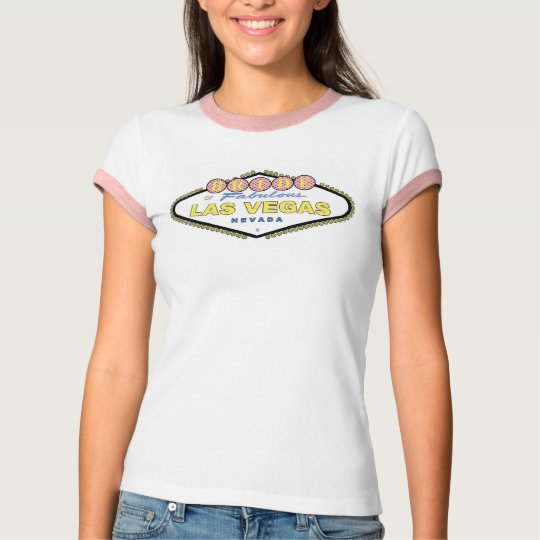 Las Vegas BRIDE Brown Polka Dots Ladie's Ringer T- T-Shirt