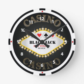 Las Vegas Casino Black Jack Chip Wall Clock