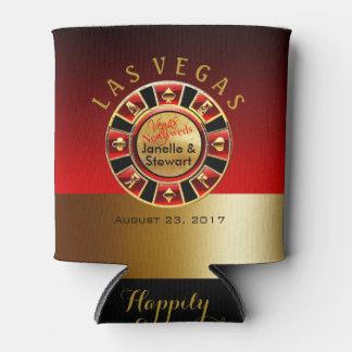 Las Vegas Casino Chip Wedding | red gold Can Cooler