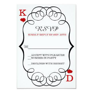 "Las Vegas Casino Modern Chic Wedding RSVP 3.5"" X 5"" Invitation Card"