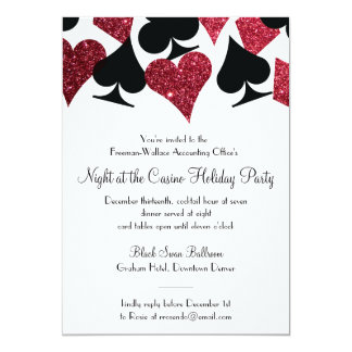"Las Vegas Casino Party Black and Faux Red Glitter 5"" X 7"" Invitation Card"