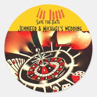 Las Vegas casino theme wedding Classic Round Sticker