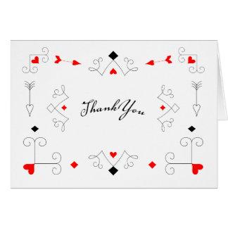 Las Vegas Cupid Arrows Hearts Thank You Note Card