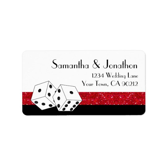 Las Vegas Dice Theme Ruby Red & Black Faux Glitter