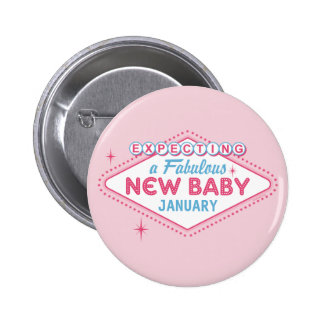 Las Vegas Expecting Custom Month 2 Inch Round Button