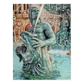 Las Vegas Fountain Triton Mythological Greek God Postcard
