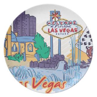 Las Vegas Fun In The Sun Party Plate