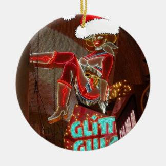 Las Vegas Glitter Gulch Christmas Ceramic Ornament
