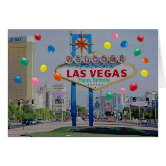 Las Vegas Happy Birthday Card with Balloons
