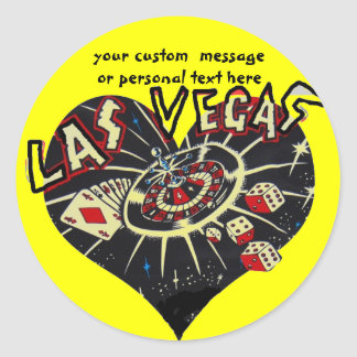 Las Vegas Heart Classic Round Sticker