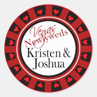 Las Vegas Kristen & Josh Casino Chip Envelope Classic Round Sticker