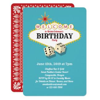 Las Vegas Marquee Birthday Party Aqua Card
