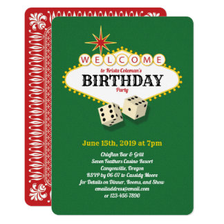 Las Vegas Marquee Birthday Party Green 2 Card