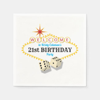 Las Vegas Marquee Birthday Party with Age Paper Napkin