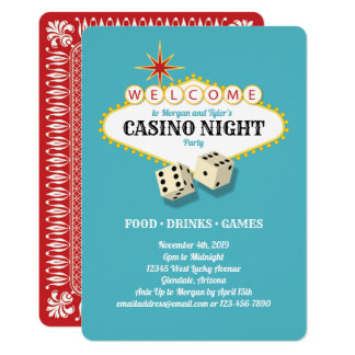 Las Vegas Marquee Casino Night Party Teal Card