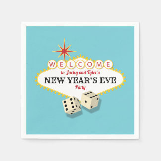 Las Vegas Marquee New Years Eve Party Aqua Disposable Napkins