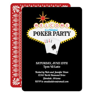 Las Vegas Marquee Sign Poker Party Card