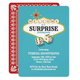 Las Vegas Marquee Surprise Birthday Party Teal Card
