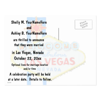 Las Vegas Marriage Announcement Postcard