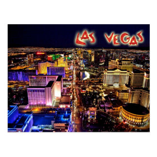 Las Vegas, Nevada at night - aerial view Postcard
