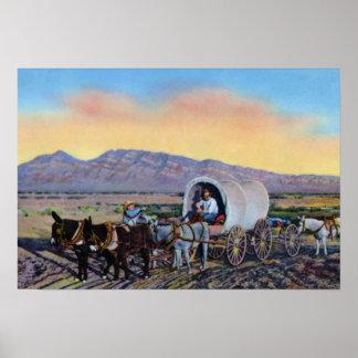 Las Vegas Nevada Desert Prospector Covered Wagon Poster
