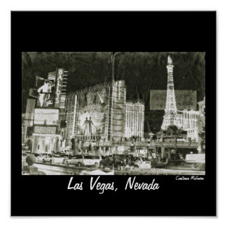 Las Vegas, Nevada Night Collage Vintage Inspired Poster