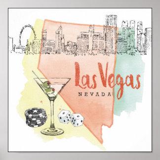 Las Vegas, Nevada | Watercolor Sketch Image Poster