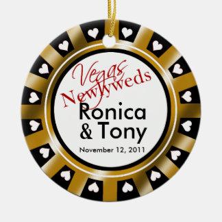Las Vegas Newlyweds Casino Chip Photo Ceramic Ornament