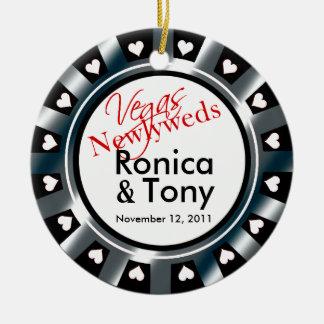 Las Vegas Newlyweds Casino Chip Photo Round Ceramic Ornament