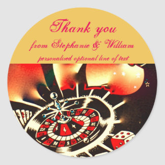 Las Vegas Newlyweds Thank You Classic Round Sticker