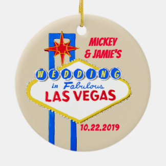 Las Vegas Personalized Save the Date Ceramic Ornament