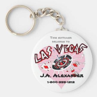 Las Vegas Pink Heart Baggage I.D. Keychain