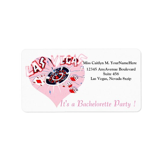 Las Vegas Pink Party Invitation Label