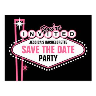 Las Vegas Pink Save The Date Postcard
