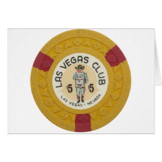 Las Vegas Poker Chip Casino Gambling Obsolete Greeting Card