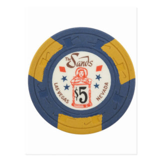 Las Vegas Poker Chip Casino Gambling Obsolete Postcard