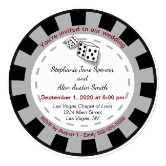 Las Vegas Poker Chip Wedding Invitation
