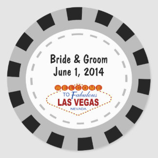 Las Vegas Poker Chip Wedding Stickers