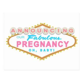 Las Vegas Pregnancy Announcement Postcard