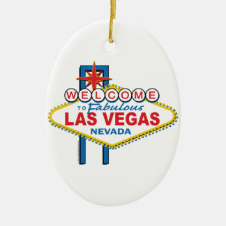 Las Vegas Retro Sign Ceramic Ornament